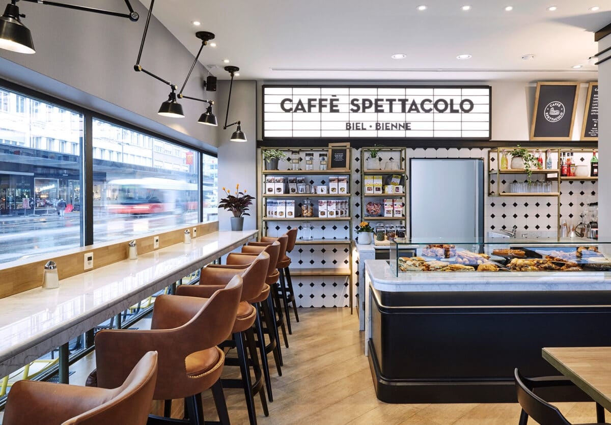 Then and now: Caffè Spettacolo in Biel.